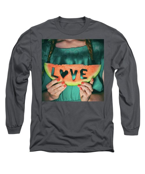 Teen With Watermelon Slice Long Sleeve T-Shirt