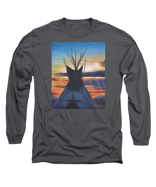 Long Sleeve T-Shirt featuring the painting Teepee At Sunset Part 1 by Kim Lockman