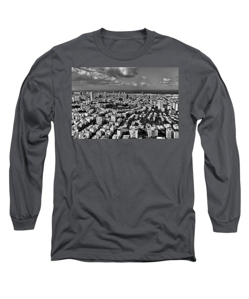 Long Sleeve T-Shirt featuring the photograph Tel Aviv Center Black And White by Ron Shoshani