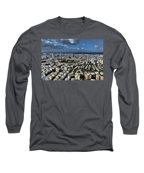Long Sleeve T-Shirt featuring the photograph Tel Aviv Center by Ron Shoshani