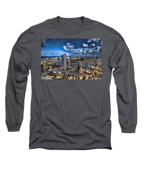 Tel Aviv Center Skyline Long Sleeve T-Shirt by Ron Shoshani