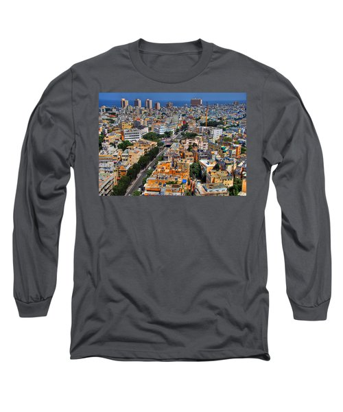 Long Sleeve T-Shirt featuring the photograph Tel Aviv Eagle Eye View by Ron Shoshani