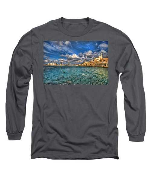 Tel Aviv Jaffa Shoreline Long Sleeve T-Shirt by Ron Shoshani