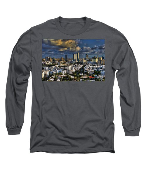 Long Sleeve T-Shirt featuring the photograph Tel Aviv Skyline Fascination by Ron Shoshani