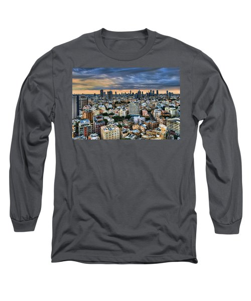 Long Sleeve T-Shirt featuring the photograph Tel Aviv Skyline Winter Time by Ron Shoshani