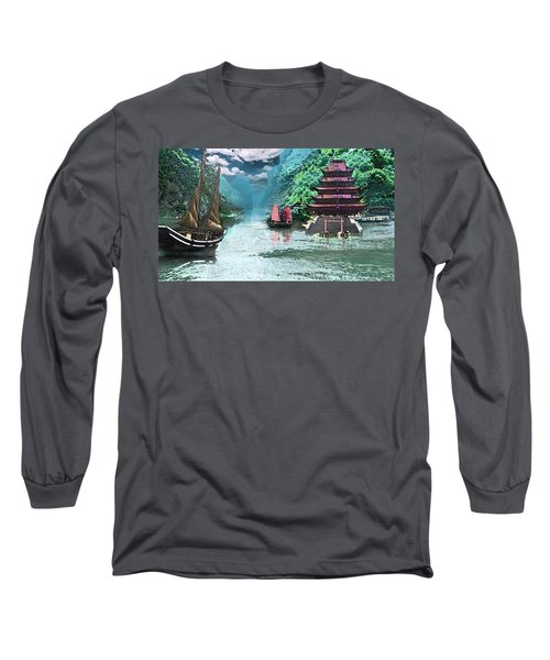 Temple On The Yangzte Long Sleeve T-Shirt