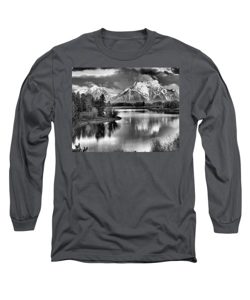 Tetons In Black And White Long Sleeve T-Shirt