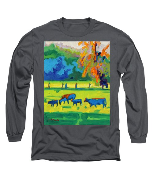 Texas Cows At Sunset Oil Painting Bertram Poole Apr14 Long Sleeve T-Shirt by Thomas Bertram POOLE