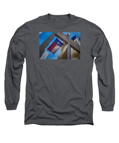 Long Sleeve T-Shirt featuring the photograph Texas State Flag Downtown Dallas by Kathy Churchman