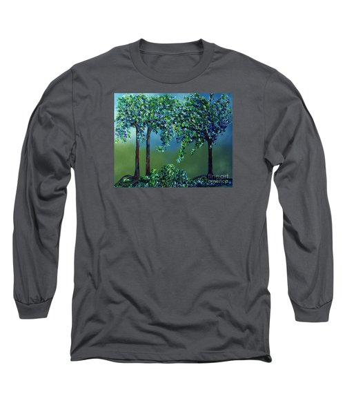 Long Sleeve T-Shirt featuring the painting Texture Trees by Eloise Schneider