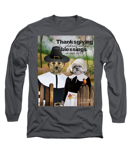 Long Sleeve T-Shirt featuring the digital art Thanksgiving From The Dogs by Kathy Tarochione
