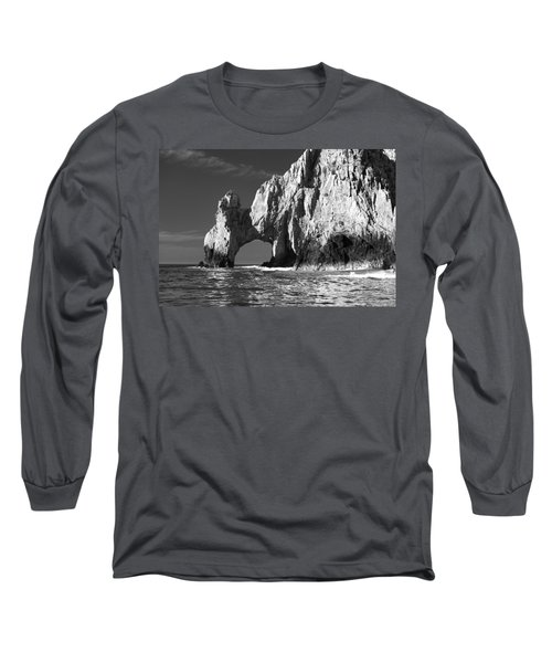 The Arch Cabo San Lucas In Black And White Long Sleeve T-Shirt by Sebastian Musial