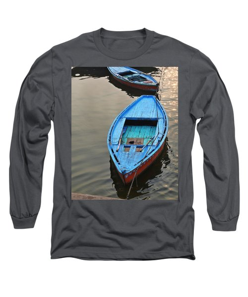 Long Sleeve T-Shirt featuring the photograph The Blue Boat by Kim Bemis