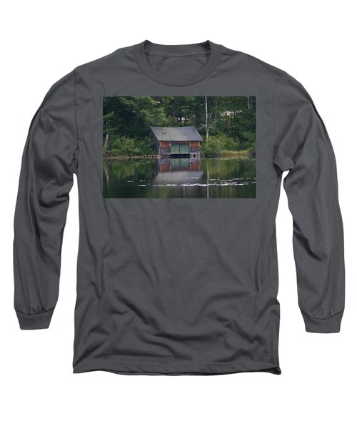 Long Sleeve T-Shirt featuring the photograph The Boat House On Mt Chocorua Lake by Denyse Duhaime