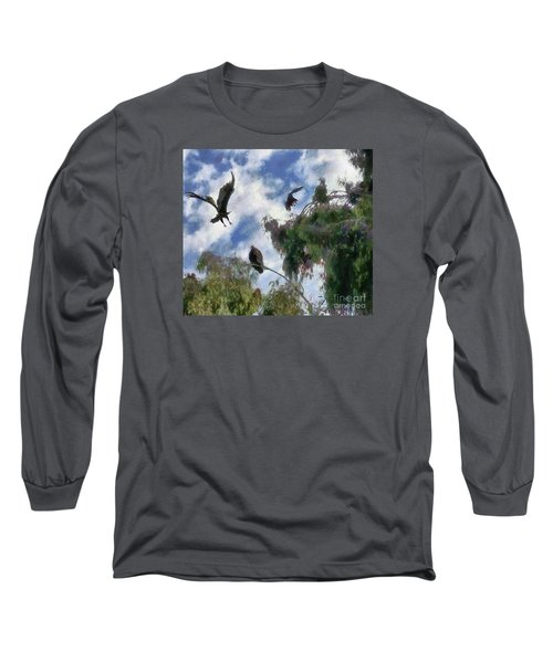 Long Sleeve T-Shirt featuring the digital art The Buzzard Tree by Rhonda Strickland