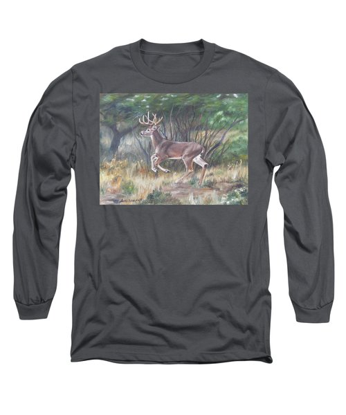Long Sleeve T-Shirt featuring the painting The Chase Is On by Lori Brackett