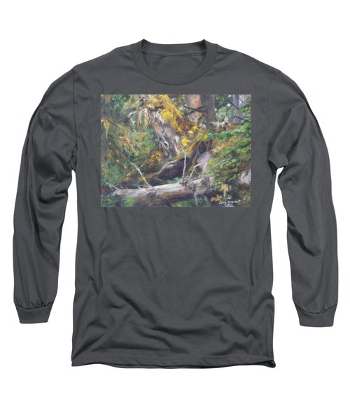 Long Sleeve T-Shirt featuring the painting The Crying Log by Lori Brackett