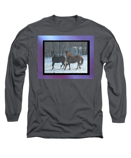 The Dancing Paso Fino Stallions Long Sleeve T-Shirt by Patricia Keller