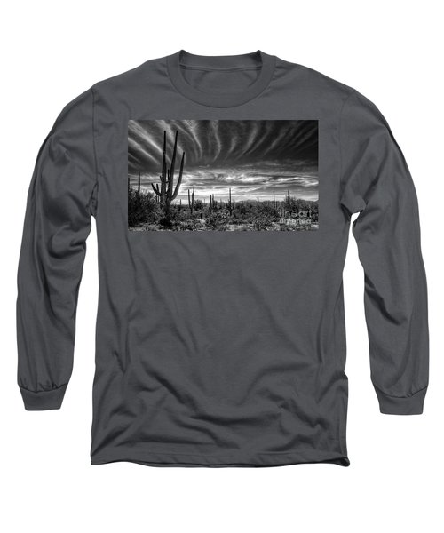The Desert In Black And White Long Sleeve T-Shirt by Saija  Lehtonen