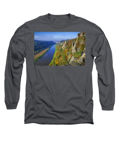 The Elbe Sandstone Mountains Along The Elbe River Long Sleeve T-Shirt