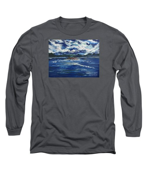 Long Sleeve T-Shirt featuring the painting The Enchanting Sea  by Lori  Lovetere