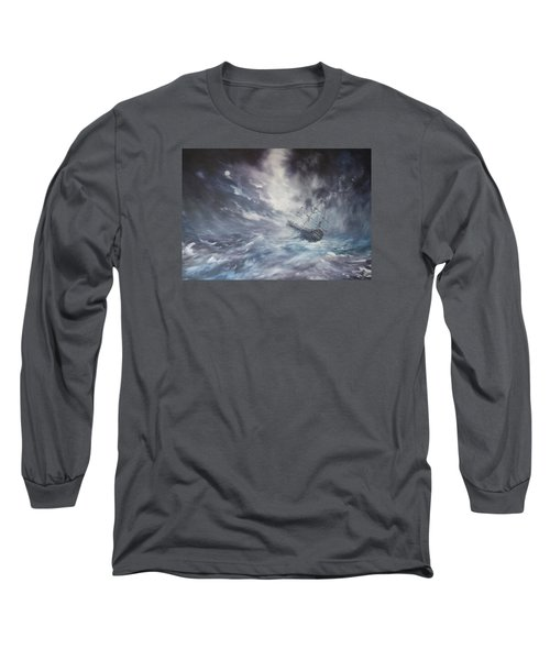The Endeavour On Stormy Seas Long Sleeve T-Shirt by Jean Walker