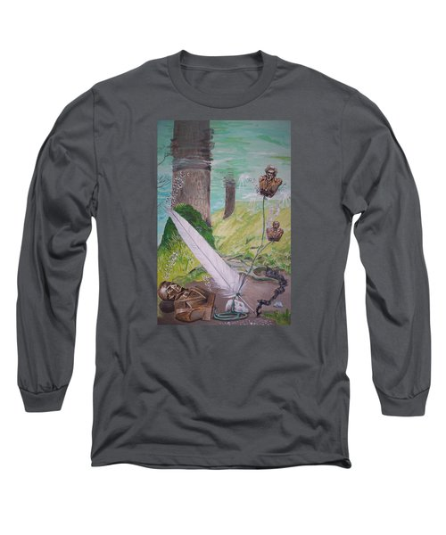 Long Sleeve T-Shirt featuring the painting The Feather And The Word La Pluma Y La Palabra by Lazaro Hurtado