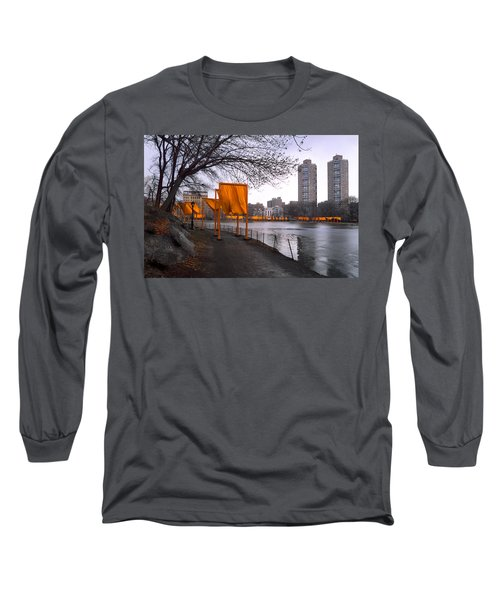 Long Sleeve T-Shirt featuring the photograph The Gates - Central Park New York - Harlem Meer by Gary Heller