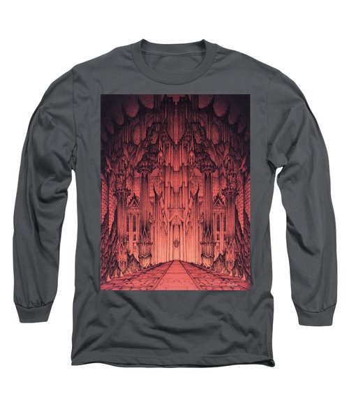 Long Sleeve T-Shirt featuring the mixed media The Gates Of Barad Dur by Curtiss Shaffer