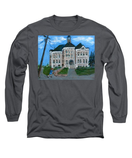 Long Sleeve T-Shirt featuring the painting The Last Bell At West Hill School by Betty Pieper
