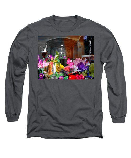 Long Sleeve T-Shirt featuring the digital art The Long Collage by Cathy Anderson