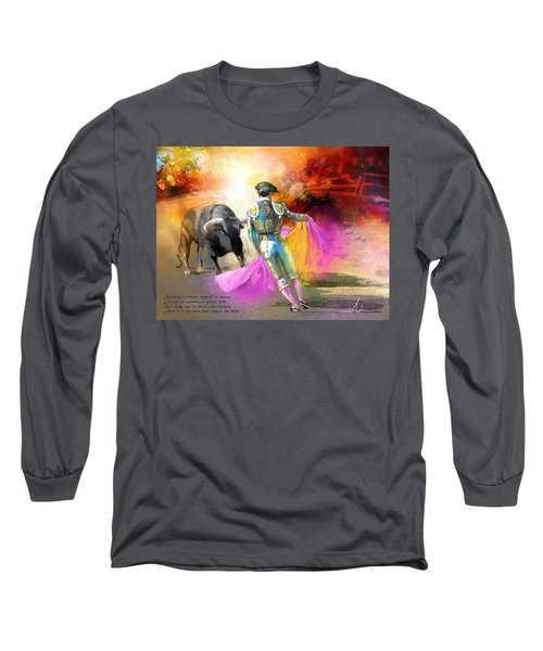 The Man Who Fights The Bull Long Sleeve T-Shirt by Miki De Goodaboom