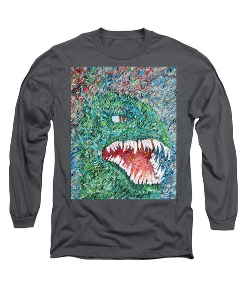 The Might That Came Upon The Earth To Bless - Godzilla Portrait Long Sleeve T-Shirt by Fabrizio Cassetta