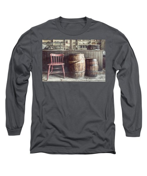 The Old General Store - Red Chair And Barrels In This 19th Century Store Long Sleeve T-Shirt