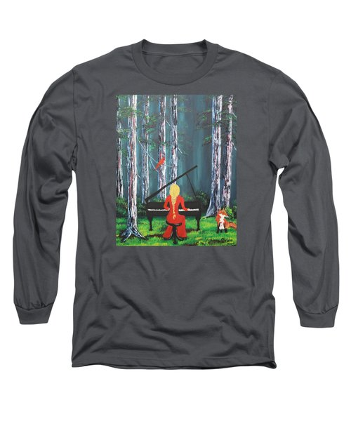 The Pianist In The Woods Long Sleeve T-Shirt by Patricia Olson