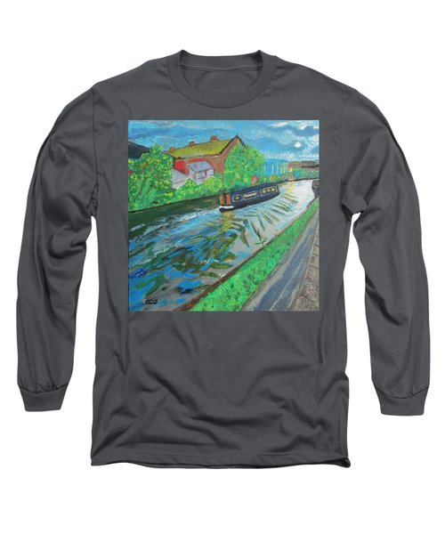 Long Sleeve T-Shirt featuring the painting The Pickle - Grand Union Canal by Mudiama Kammoh