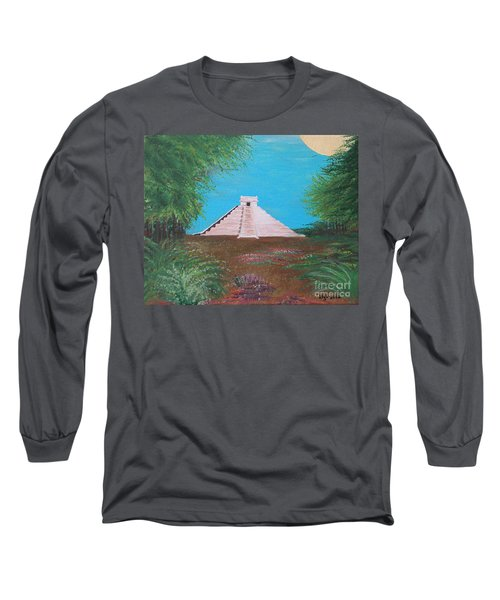 Long Sleeve T-Shirt featuring the painting The Temple Of Kukulcan by Alys Caviness-Gober