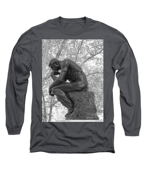 The Thinker - Philadelphia Bw Long Sleeve T-Shirt by Ann Horn