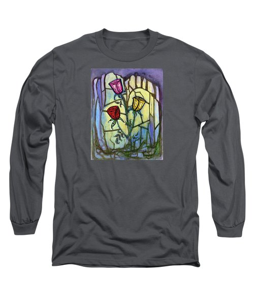 Long Sleeve T-Shirt featuring the painting The Three Roses by Terry Webb Harshman