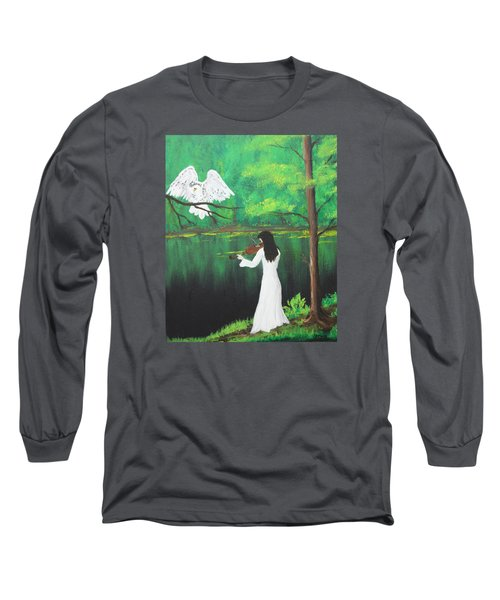 The Violinist By The River   Long Sleeve T-Shirt by Patricia Olson