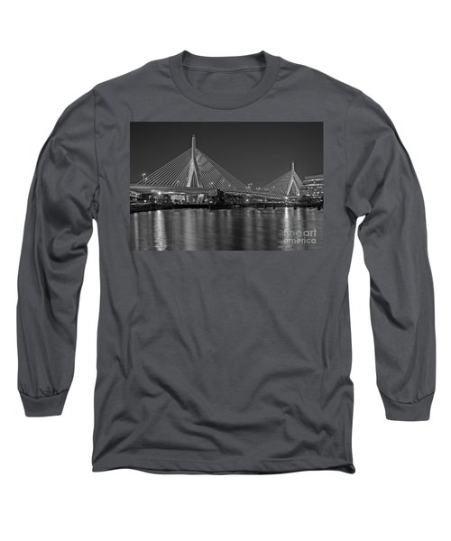 Long Sleeve T-Shirt featuring the photograph The Zakim Bridge Bw by Susan Candelario