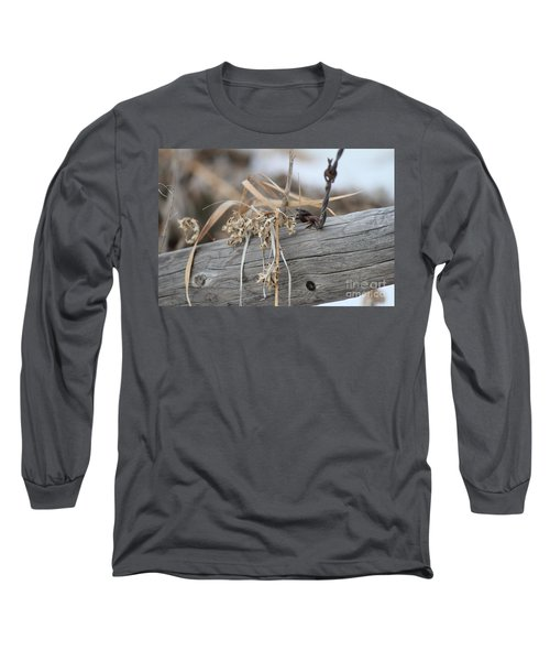 Long Sleeve T-Shirt featuring the photograph Thistles And Barbed Wire by Ann E Robson