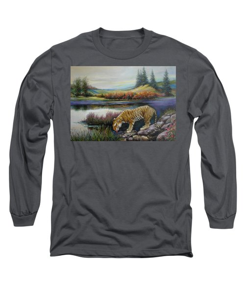 Tiger By The River Long Sleeve T-Shirt