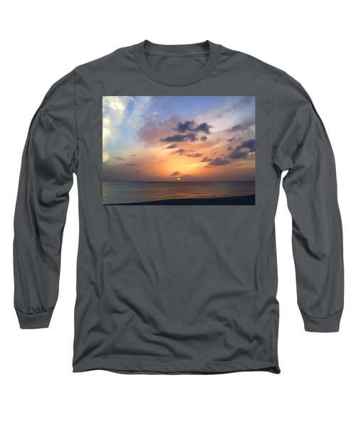 Tiki Beach Caribbean Sunset Long Sleeve T-Shirt