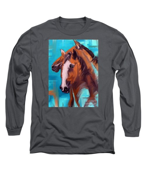 Long Sleeve T-Shirt featuring the painting Together 1 by Go Van Kampen