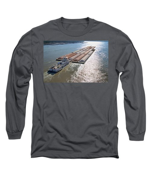 Towboats And Barges On The Mississippi Long Sleeve T-Shirt by Garry McMichael