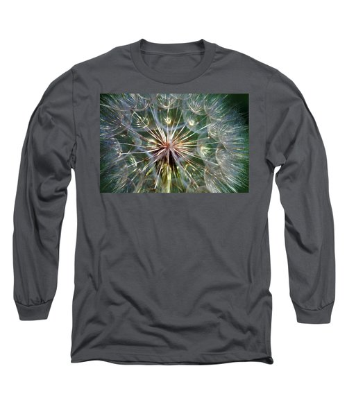 Long Sleeve T-Shirt featuring the photograph Tragopogon Dubius Yellow Salsify Flower Fruit Seed by Karon Melillo DeVega