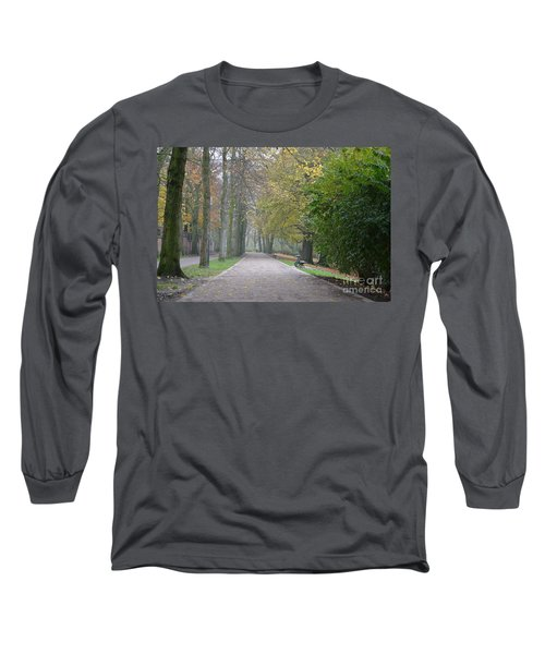 Long Sleeve T-Shirt featuring the photograph Tree Lined Path In Fall Season Bruges Belgium by Imran Ahmed