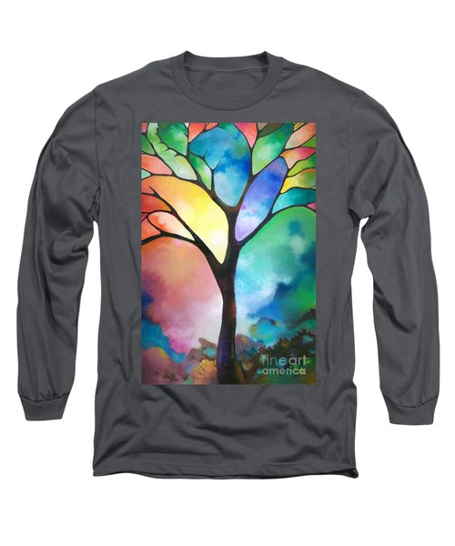 Original Art Abstract Art Acrylic Painting Tree Of Light By Sally Trace Fine Art Long Sleeve T-Shirt