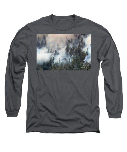 Beaver Fire Trees Swimming In Smoke Long Sleeve T-Shirt by Bill Gabbert
